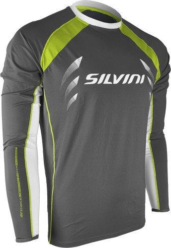 Koszulka z długim rękawem Silvini Reno MD609 szary-limonka